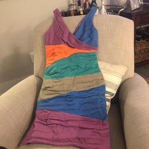 Multi-colored ruched Nicole Miller dress